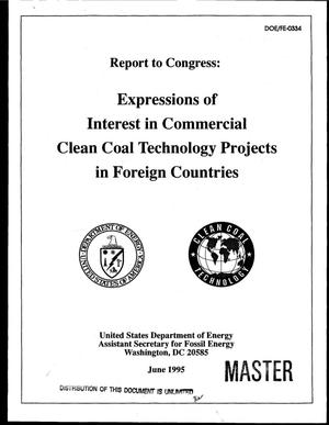 Primary view of object titled 'Report to Congress: Expressions of interest in commercial clean coal technology projects in foreign countries'.