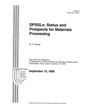 Primary view of object titled 'DPSSLs: status and prospects for materials processing'.