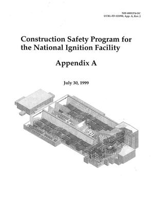 Primary view of object titled 'Construction safety program for the National Ignition Facility, July 30, 1999 (NIF-0001374-OC)'.