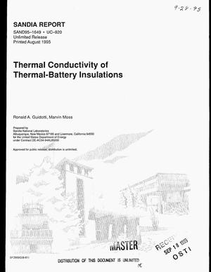 Primary view of object titled 'Thermal conductivity of thermal-battery insulations'.