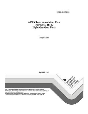 Primary view of object titled 'ACRV instrumentation plan for NMD HTK light gas gun tests'.
