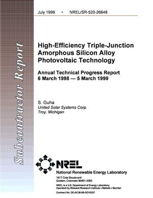 Primary view of object titled 'High-Efficiency Triple-Junction Amorphous Silicon Alloy Photovoltaic Technology; Annual Technical Progress Report, 6 March 1998--5 March 1999'.