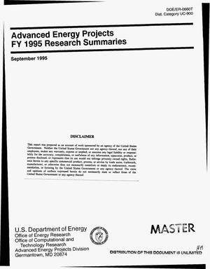 Primary view of object titled 'Advanced energy projects; FY 1995 research summaries'.