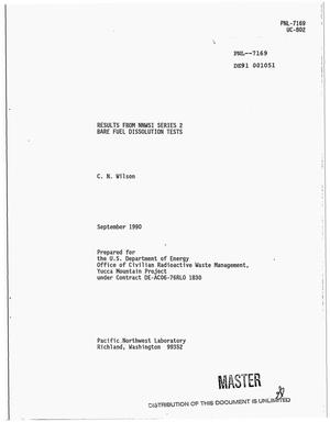 Primary view of object titled 'Results from NNWSI [Nevada Nuclear Waste Storage Investigations] Series 2 bare fuel dissolution tests'.