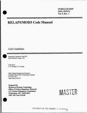 Primary view of object titled 'RELAP/MOD3 code manual: User`s guidelines. Volume 5, Revision 1'.