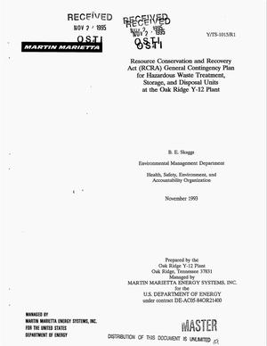 Primary view of object titled 'Resource Conservation and Recovery Act (RCRA) general contingency plan for hazardous waste treatment, storage, and disposal units at the Oak Ridge Y-12 Plant'.