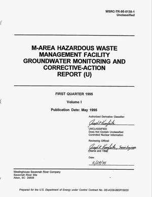 Primary view of object titled 'M-area hazardous waste management facility groundwater monitoring and corrective-action report, First quarter 1995, Volume 1'.