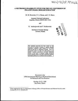 Primary view of object titled 'A neutronics feasibility study for the LEU conversion of Poland's Maria research reactor.'.