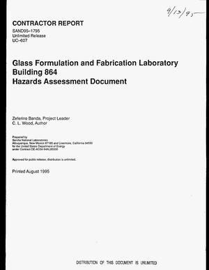 Primary view of object titled 'Glass Formulation and Fabrication Laboratory, Building 864, Hazards assessment document'.