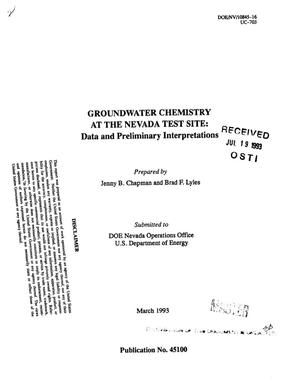 Primary view of object titled 'Groundwater chemistry at the Nevada Test Site: Data and preliminary interpretations'.