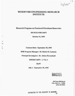 Primary view of object titled 'Research program on fractured petroleum reservoirs. Quarterly progress report, July 1, 1995--September 30, 1995'.