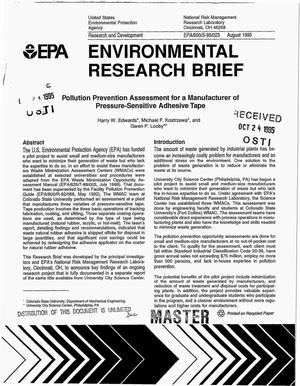 Primary view of object titled 'Environmental Research Brief: Pollution prevention assessment for a Manufacturer of pressure-sensitive adhesive tape'.