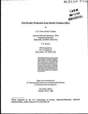 Primary view of object titled 'Fuel powder production from ductile uranium alloys.'.
