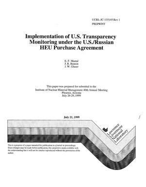 Primary view of object titled 'Implementation of U.S. transparency monitoring under the U.S./Russian HEU purchase agreement'.