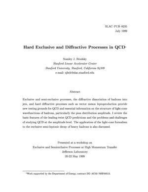 Primary view of object titled 'Hard Exclusive and Processes in QCD'.