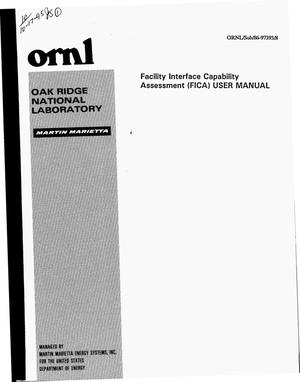 Primary view of object titled 'Facility Interface Capability Assessment (FICA) user manual'.