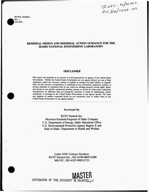 Primary view of object titled 'Remedial design and remedial action guidance for the Idaho National Engineering Laboratory'.