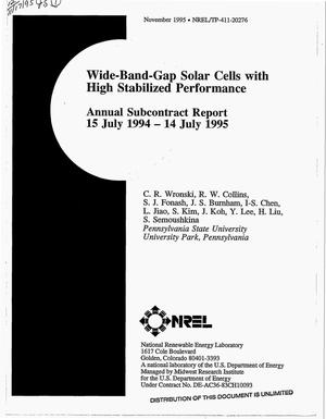 Primary view of object titled 'Wide-band-gap solar cells with high stabilized performance. Annual subcontract report, July 15, 1994--July 14, 1995'.