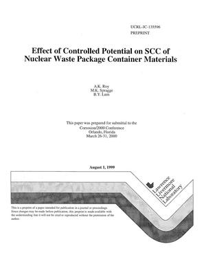Primary view of object titled 'Effect of controlled potential on SCC of nuclear waste package container materials'.