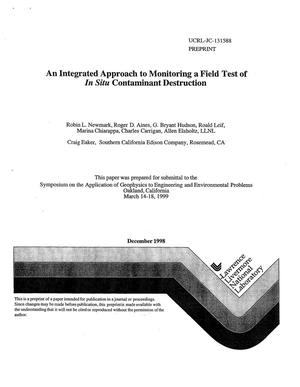 Primary view of object titled 'An integrated approach to monitoring a field test of in situ contaminant destruction'.