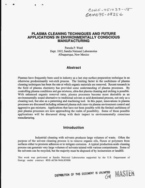 Primary view of object titled 'Plasma cleaning techniques and future applications in environmentally conscious manufacturing'.