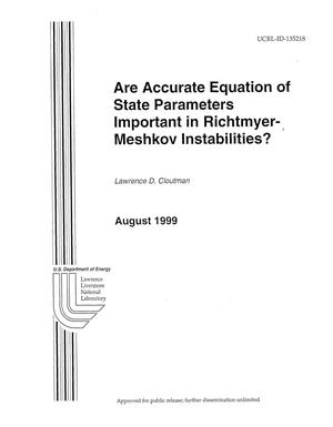 Primary view of object titled 'Are accurate equation of state parameters important in Richtmyer-Meshkov instabilities'.
