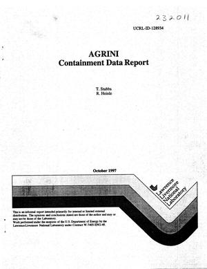 Primary view of object titled 'AGRINI containment data report'.