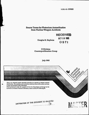 Primary view of object titled 'Source terms for plutonium aerosolization from nuclear weapon accidents'.