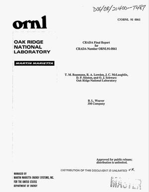 Primary view of object titled 'Final report for the ORNL/3M CRADA No. ORNL91-0061 for the period January 1, 1992--December 31, 1992'.