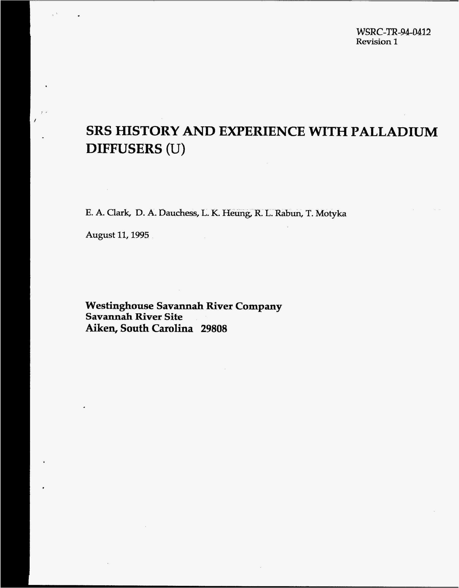 SRS history and experience with palladium diffusers. Revision 1                                                                                                      [Sequence #]: 1 of 26