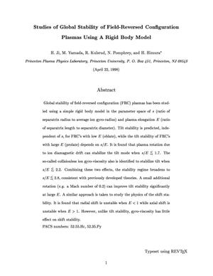 Primary view of object titled 'Studies of Global Stability of Fluid-reversed Configuration Plasmas using a Rigid Body Model'.