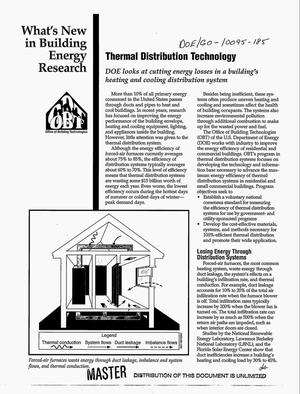 Primary view of object titled 'What`s new in building energy research: Thermal distribution technology. DOE looks at cutting energy losses in a building`s heating and cooling distribution system'.