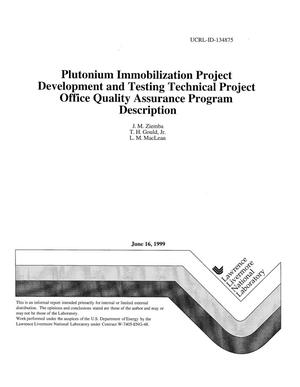 Primary view of object titled 'Plutonium immobilization project development and testing technical project office quality assurance program description'.