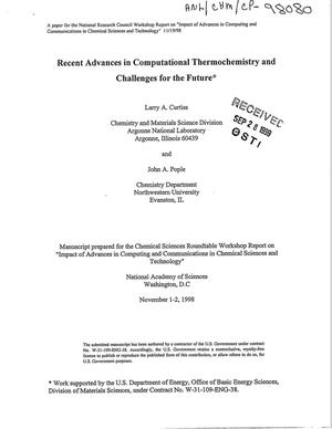 Primary view of object titled 'Recent advances in computational thermochemistry and challenges for the future.'.