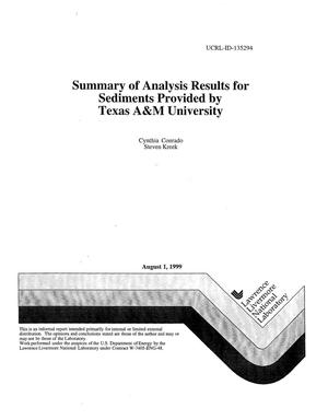 Primary view of object titled 'Summary of analysis results for sediments provided by Texas A and M University'.
