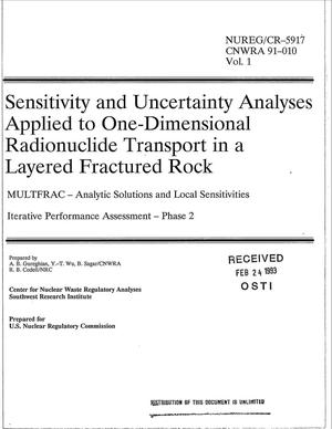 Primary view of object titled 'Sensitivity and uncertainty analyses applied to one-dimensional radionuclide transport in a layered fractured rock: MULTFRAC --Analytic solutions and local sensitivities; Phase 2, Iterative performance assessment: Volume 1'.