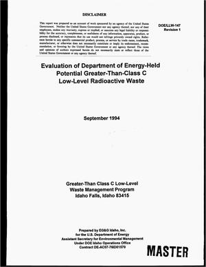 Primary view of object titled 'Evaluation of Department of Energy-Held Potential Greater-Than-Class C Low-Level Radioactive Waste. Revision 1'.