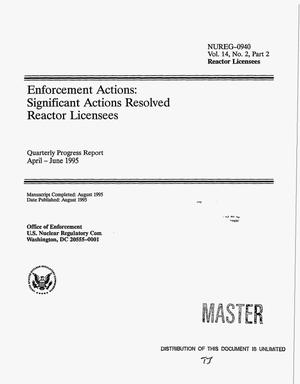 Primary view of object titled 'Enforcement actions: Significant actions resolved reactor licensees. Volume 14, No. 2, Part 2, Quarterly progress report, April--June 1995'.