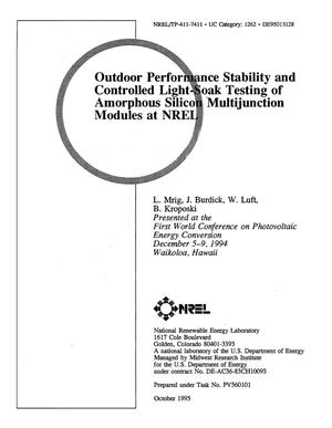 Primary view of object titled 'Outdoor performance stability and controlled light-soak testing of amorphous silicon multijunction modules at NREL'.