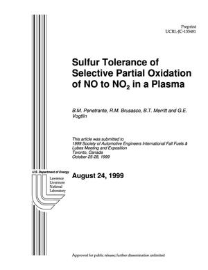Primary view of object titled 'Sulfur tolerance of selective partial oxidation of NO to NO2 in a plasma'.