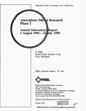 Primary view of object titled 'Amorphous silicon research Phase I. Annual subcontract report, August 1, 1994--July 31, 1995'.