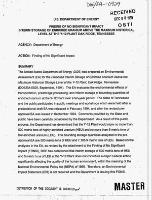 Primary view of object titled 'Finding of no significant impact: Interim storage of enriched uranium above the maximum historical level at the Y-12 Plant Oak Ridge, Tennessee'.