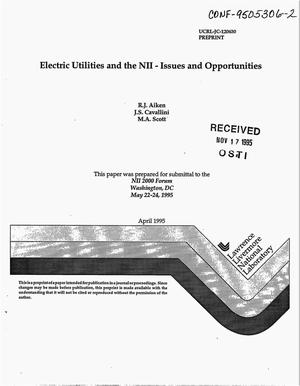 Primary view of object titled 'Electric utilities and the NII -- Issues and opportunities'.