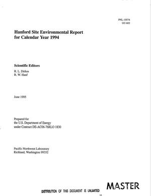 Primary view of object titled 'Hanford Site environmental report for calendar year 1994'.