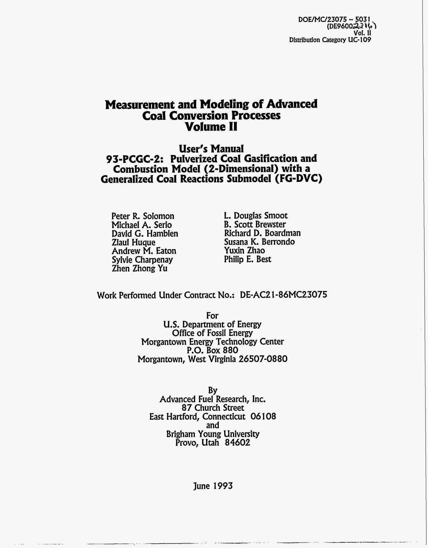 Measurement and modeling of advanced coal conversion processes, Volume II                                                                                                      [Sequence #]: 4 of 719