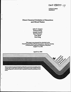 Primary view of object titled 'Direct chemical oxidation of hazardous and mixed wastes'.