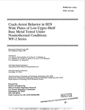 Primary view of object titled 'Crack-arrest behavior in SEN wide plates of low-upper-shelf base metal tested under nonisothermal conditions: WP-2 series'.