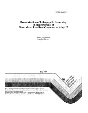 Primary view of object titled 'Demonstration of lithographic patterning in measurements of general and localized corrosion on alloy 22'.