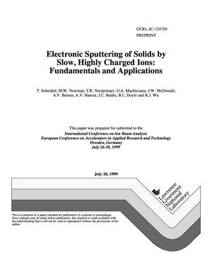 Primary view of object titled 'Electronic sputtering of solids by slow, highly charged ions: fundamentals and applications'.