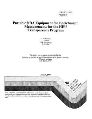 Primary view of object titled 'Portable NDA equipment for enrichment measurements for the HEU transparency program'.